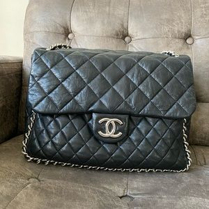 Authentic Chanel black chain around maxi